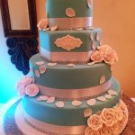 Tiffany Blue Rose Bridal Cake