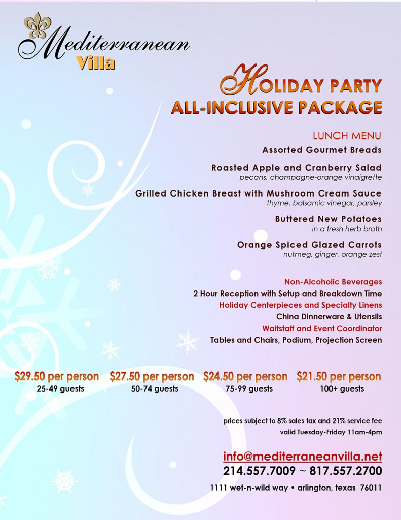 Holiday Party : All-inclusive Package :: Mediterranean Villa