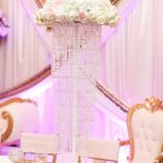Tall Blush and White Centerpiece