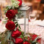 Lantern with Cascading Red Roses