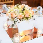 Short Floral Centerpiece in SIlver Cube