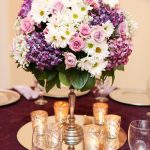Short Purple and White Centerpiece