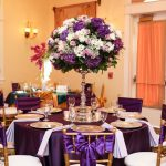 Tall Purple and White Centerpiece