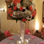 Tall Coral and Gold Centerpiece